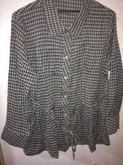 モス×黒チェック柄チュニックシャツフリーサイズ