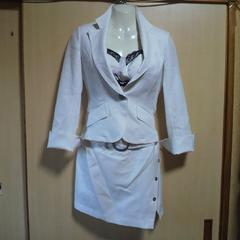 A.J-Rouge白 ストライプ ミニスカート スーツ 3点セット