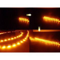 送料無料 流れる LEDテープライト 左右 2本 オレンジ系 黒ベース