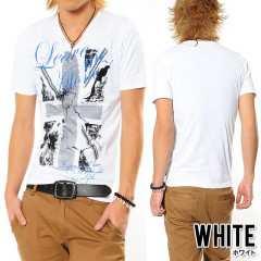 【JILL BLAZE】オラオラユニオンジャックVネックTシャツホワイト