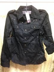 新品★Mサイズ☆クロスデザイン黒長袖デザインシャツ