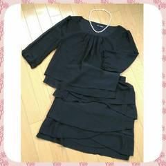 送料安【新品】《スーツ》スカート+ブラウス★セットアップ 黒