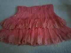 ミニ オレンジ ピンク スパンコール スカート