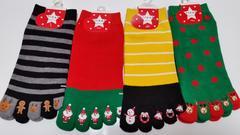 クリスマス靴下★4足セット☆5本指くるぶしソックス★23〜25cm