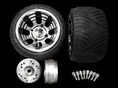 4stジャイロ ブラックホイール扁平タイヤ&スペーサーセット