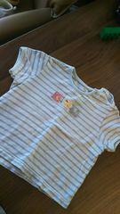 ミキハウス80半袖胸元パッチワーク刺繍Tシャツボーダー柄水色白