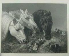 絵画 銅版画 J.F.ヘーリング筆『つましい食事』巨匠