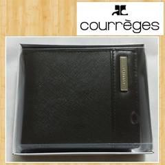 courreges クレージュ 財布 メタルプレート付 本革 紳士用 新品 レザー