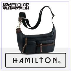 【HAMILTON】☆合皮ショルダーバッグ29×18×6cm 紺 送料無