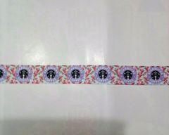23mm巾 スタバ柄(パープル)リボン1M