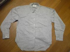 シャツ/長袖/グレー/縦じま/Mサイズ