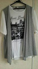 新品★カジュアルTシャツ&ベストset LL size