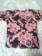☆新柄黒×牡丹花車短冊和柄ダボシャツ110