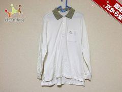 バーバリーズ 長袖ポロシャツ L メンズ 美品 白×ライトグレー