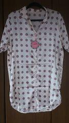 フリーサイズ!ツルツル素材!シルク風!半袖シャツ型!ナイトウェア!