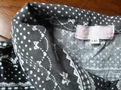100スタ中古パジャマ半袖5分?7分丈ズボン140綿100%黒ブラック薄手リボンハ-ト