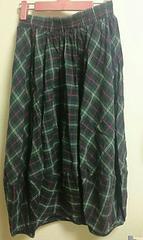 緑チェック柄ロングスカート