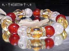 天然石★12ミリ六字真言梵字水晶&クラック水晶&カーネリアン数珠