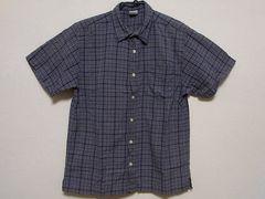 即決!USA古着●オールドネイビーチェックデザイン半袖シャツ!