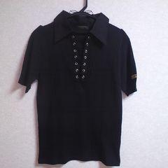 新品前編みシンプル黒トップス★M