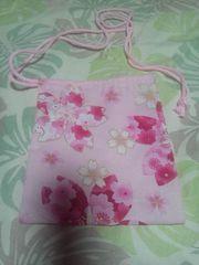 ☆新柄ピンク×大桜柄ナナメ掛巾着袋