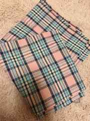 布ピンク青チェック柄110×102cm ★手芸はぎれ布
