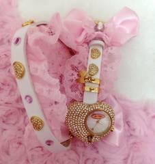 ラパフェ*姫系腕時計ブレスレット*ピンク リボン レースハート