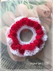 ハンドメイド/手編み♪毛糸のダブルフリル編みシュシュ 6