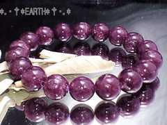 天然石★10ミリ不眠予防高級レピドライト濃赤紫モザンビーク産数珠