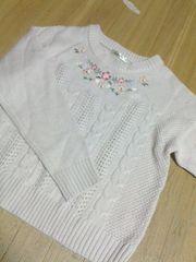 ピンク/花柄/刺繍/ニットL