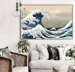 葛飾北斎が制作した木版画 神奈川沖浪裏 和風インテリア用