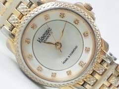 9423/klaeuseシェル素材&ダイヤモンド付きダイヤルメンズ腕時計格安