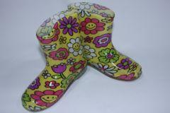 可愛い♪フラワースマイル柄子供用キッズレインブーツ/長靴16cmお花