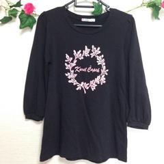 ユニクロ◆ブラック 黒 七分袖  チュニック ロングTシャツ M