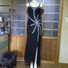 総レースビジューキャミ ロングドレス