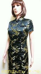 ☆大きいL☆綺麗な絹織り黒金崋山チャイナドレスD89☆3点で即落