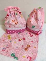 リボン柄☆ランチバッグ&コップ袋&ランチマット ハンドメイド