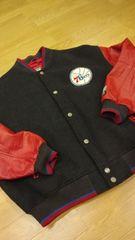 NBA袖本革 ウールスタジャン グレー赤 サイズ2XL XXLUSED