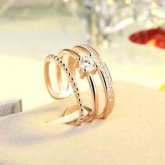 14Kピンクゴールド鍍金 CZダイヤシンプルリング