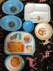 中古子供食器セット!ランチプレートお椀カレー皿