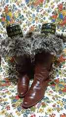 フェイクファー後ろ編み上げレザー調ロングブーツ LLサイズ