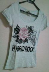 used 美品 「GLAD NEWS」 スカル薔薇print†Tシャツ