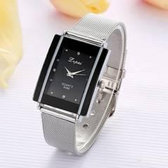 送料無料/スクエアメッシュ・レディース腕時計【黒】予備電池付