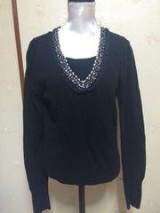 スパンコール襟 黒セーター ニュージーランド購入