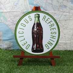 新品【ブリキ看板】コカ・コーラ 1960年代ボトル 丸型
