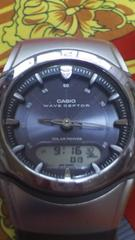 カシオWAVE CEPTOR電波ソーラー腕時計可動中中古キズ擦れ有り