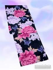 【和の志】女性用変り織り浴衣◇F◇紺系・牡丹・蝶◇KWF628-24