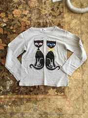 ビジュースタッズ黒猫パッチ長袖Tシャツ