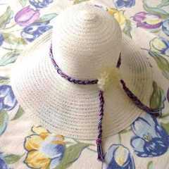 2Way ホワイト 白 ライン取り外し可能 つば広 ハット 帽子