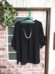 極美*アクセ付き袖リボン上品PO*黒*3L4L*綺麗め万能夏服